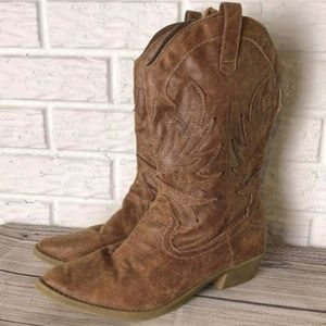 Rampage Cowboy Boots Size 10 M Faux Leather Brown